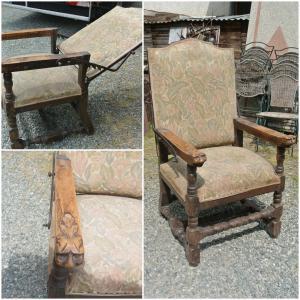 Poltrona antica con schienale reclinabile