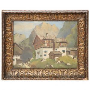 Dipinto antico paesaggio di montagna olio su cartoncino inizi Sec. XX
