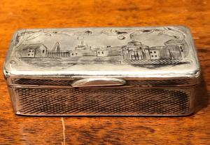 Silver box engraved with architectural scenes. Russia 1866.
