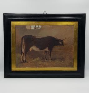 GIOVANNI MARCH  (Tunisi, 1894 – Livorno, 1974) - Mucca nella Stalla