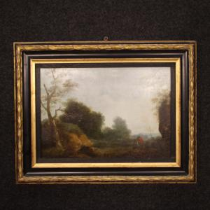 Flemish painting landscape with characters from 19th century