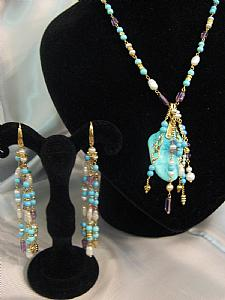 Sets with turquoise, pearls and amethyst - Unique piece