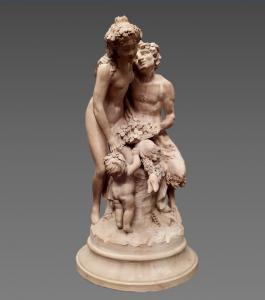 Scultura in terracotta raffigurante Bacco e Arianna, firmata Clodion