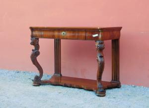Console mobile da ingresso Carlo X, noce, piano legno, '800 - L 120 cm!