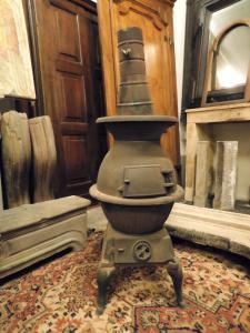dars386 - estufa de hierro fundido, del siglo XIX, tamaño cm 45 xh 123