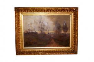1800 年画布油画《黄昏的乡村风景》