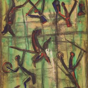 Signiertes abstraktes Gemälde des 20. Jahrhunderts