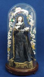 Grande Madonna Addolorata in teca di vetro - cm 75 h - Italia XIX sec.