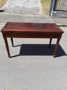 Folding table in Tuscan walnut with opening drawer where 2 pyramidal truncated legs support the extended table 145x63 h82 extended 145x126 guaranteed by law