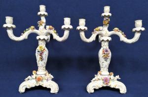 Coppia grandi candelabri in porcellana di Meissen - Germania 1920/1930