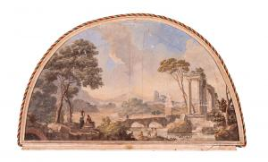 N.4 dipinti raffiguranti rovine romane - Olio su tela  - Epoca '700