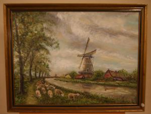 古色古香的绘画与牧羊人和磨坊从1800景观签署了瓦卢瓦
