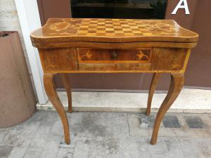 Louis XV game table inlaid in various precious woods