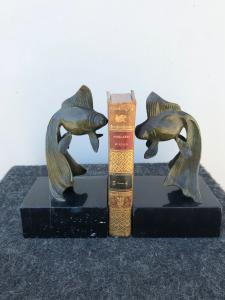 Pair of bronze and marble bookends depicting two fish in art-nouveau style.France.
