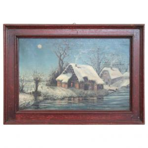 Antique painting, snowy landscape, early 20th century, PRICE TREATY