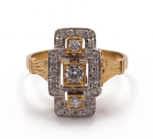 Золотое кольцо с бриллиантами 50-х годов