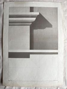 Dibujo acuarela a lápiz sobre papel que representa pruebas de sombras en una cornisa, firmado por Giulio Pietra.1874.