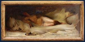 19th century, Sketch of a nude female lying down