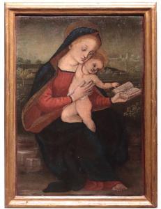"""绘画:""""麦当娜与孩子"""",托斯卡纳,'800"""