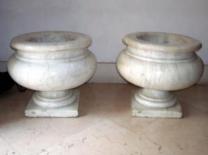 pair of decorative marble vases