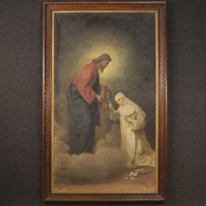 19 世纪意大利古代绘画锡耶纳的基督和圣凯瑟琳