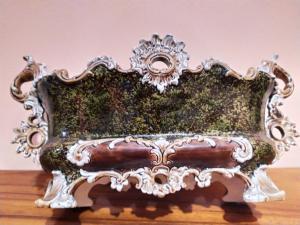 Centro tavola o fioriera in ceramica Barbotine Art Decò Francia
