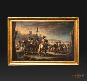 Francesco Simonini, serie di quattro antichi dipinti scene di battaglia