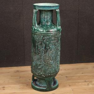 Italian green glazed terracotta vase