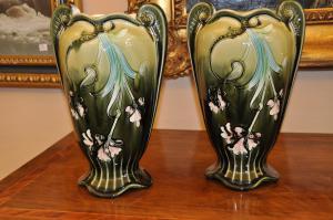 Paar Barbottine Vasen