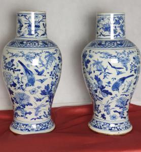 Coppia di grandi vasi Cina bianco blu XIX secolo