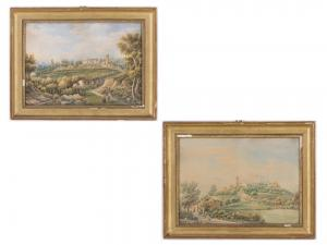 Pair of landscapes with figures