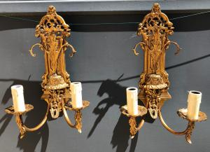 pair of golden bronze appliques