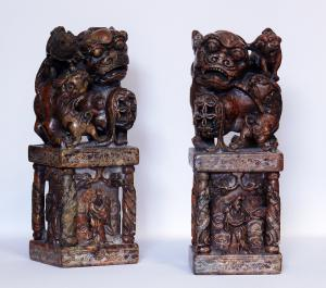Pair of Pho Lions in saponaria - Z / 1428