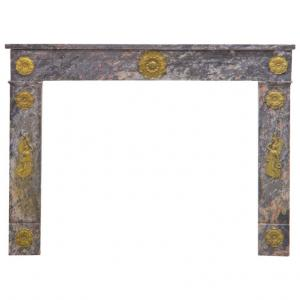 Antique Charles X Marble Fireplace with Important Gilt Bronze Angels Friezes