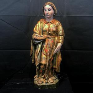 Antica scultura lignea policroma raffigurante Santa Lucia -  Venezia