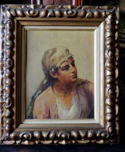 莫雷利的油画,带头巾的男孩,19 x 25厘米