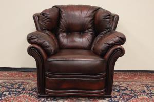 Кресло Chesterfield из натуральной английской кожи в коричневой коже