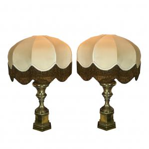 Pair of brass table lamps with original vintage 1950s lampshades