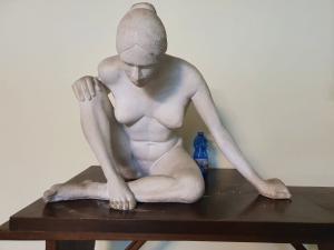 scultura in gesso massiccio con base in legno solo la scultura misura cm 57 x 50