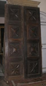 pti545 door in eighteenth-century walnut, inlaid, mis. h cm 260 x 135 cm wide