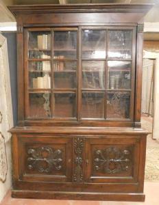 lib100 - libreria in noce, epoca 1860, misura cm l 173 x h 238