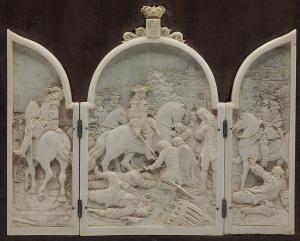 Pair of ivory triptychs
