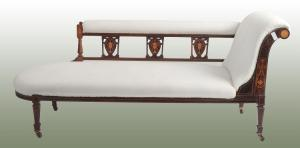 Antique English daybed from the 1800s with inlays