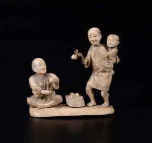 Группа, вырезанная из слоновой кости, Япония, начало 20 века