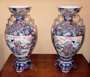 antica coppia di vasi Giapponesi manifattura satsuma epoca fine '800