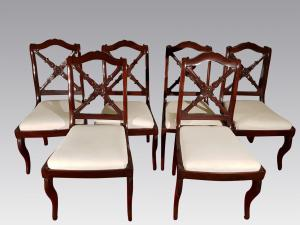 SIX antique CHAIRS IMPERO