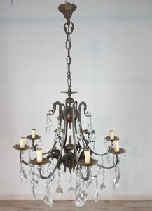 lampadario antico in bronzo e gocce cristallo primi 1900 Sec.XX 8 luci euro 400,00 Trattabili