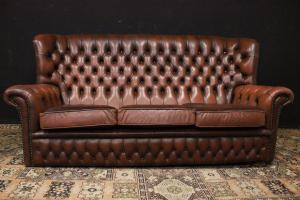 Original Chesterfield bergere three-seater sofa in light brown leather