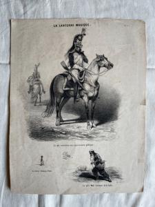Lithographiedruck mit einem satirischen Thema aus dem Buch: la lanterne magique.Author d'Aubert, Frankreich.