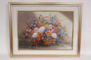 Cesta de vime com quadro de flores, pintura a óleo sobre tela, origem francesa